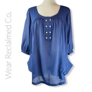 ARITZIA Wilfred Blue Tunic W/ Oversized Top